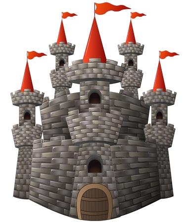 Vector illustration de bande dessinée de fées château de conte de pierre