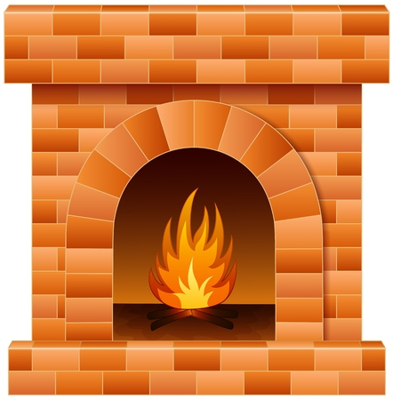 Vector illustration of Christmas fireplace with fire and firewood