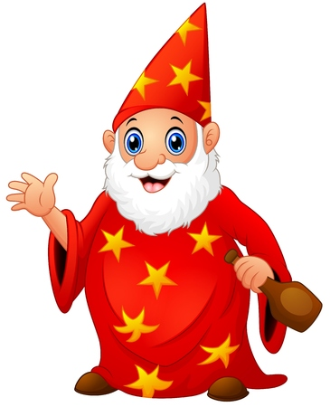Red old wizard holding a bottle Illustration