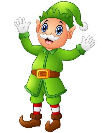 old man standing: Christmas old elf waving hands