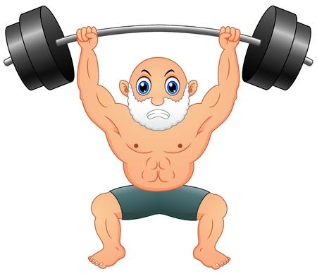 Old man weightlifting Illustration