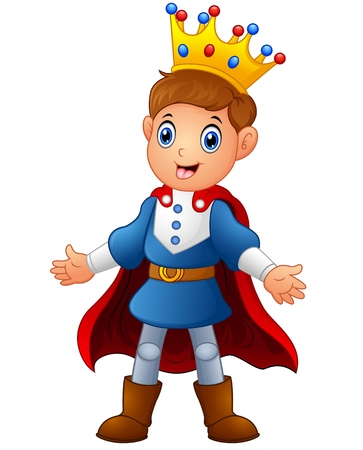 Netter Junge Prinz mit rotem Umhang Standard-Bild - 66653741