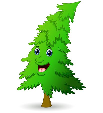 coniferous: Christmas tree cartoon character Illustration
