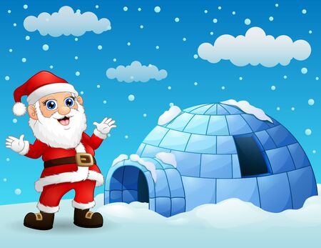 Cartoon santa claus with igloo in winter