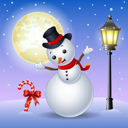neckscarf: Vector illustration of Happy snowman with candy cane and lamppost