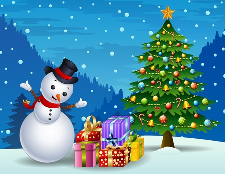 Vector illustration of Snowman with christmas tree and gift boxes at night background Illustration