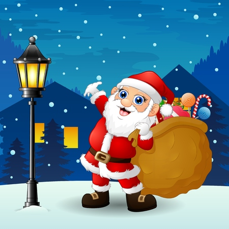 Vector illustration of Santa claus carrying sack full of gifts with snowfall falling at night background Illustration
