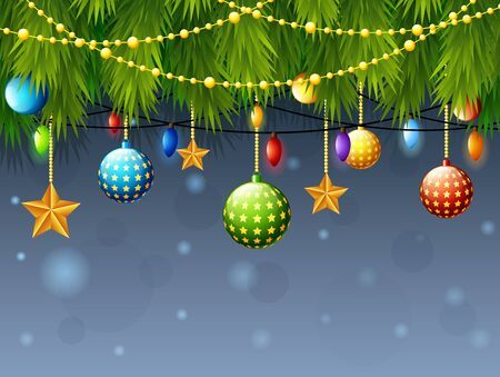 color balls: Vector illustration of  Christmas decoration with fir tree branch, color balls, golden star, with light bulbs Illustration