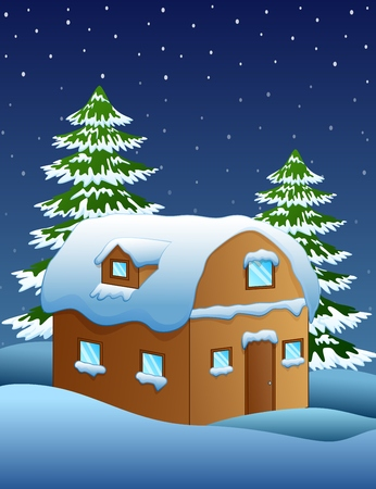 Christmas night with a fir tree and snowy houses Illustration