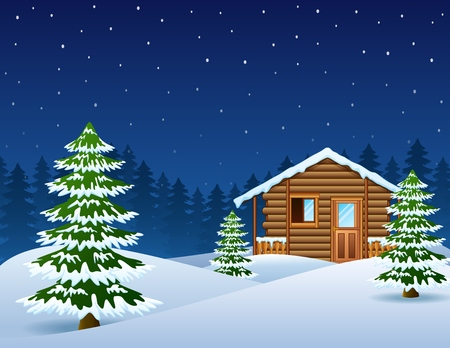 log cabin: Christmas wooden house with fir trees Illustration