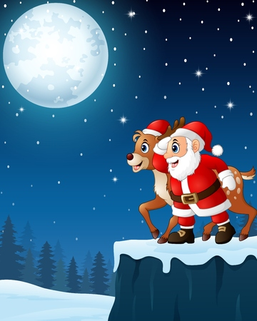Christmas moon night background with Santa Claus and Reindeer