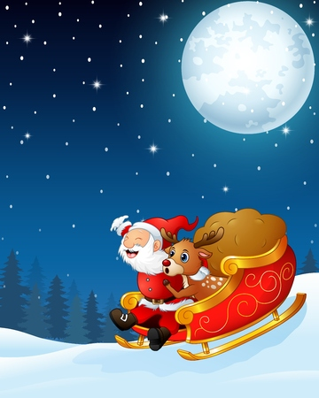 Santa claus and a reindeer riding his sleigh and carry huge sack in the night background