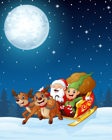 dwarf christmas: Santa and elf cartoon a riding in sled sleigh and gift bag with two reindeer in the night background