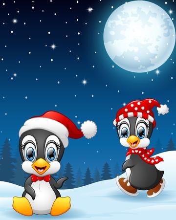 pinguinos navidenos: Pingüinos de Navidad en la nieve