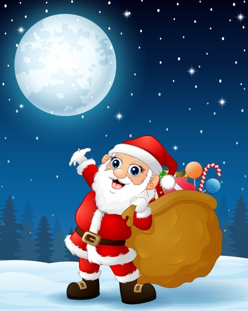 Santa Claus carrying sack full of gifts in the winter night background Illustration