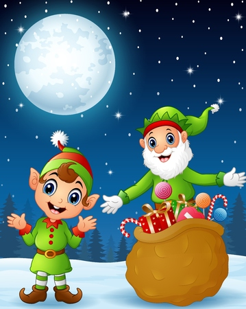 old man standing: Christmas old elf with cartoon elf kid present a sack full of gifts