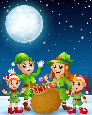 old man standing: Cartoon christmas elves, old man, old witch with elf kids and a bag of gifts in the winter night background