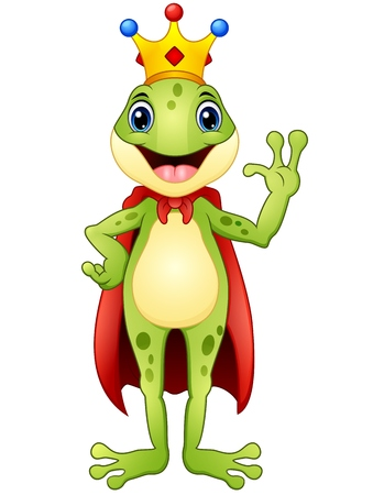 Frog prince cartoon waving hand