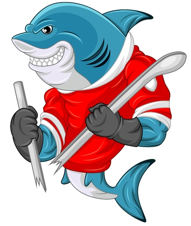 Cartoon shark mascot wearing a hockey jersey while holding a stick which was cut