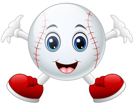 Cute happy baseball cartoon smiling