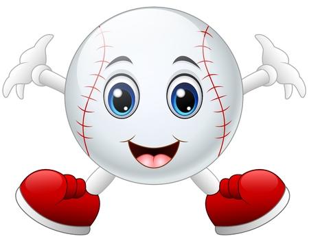 Nettes glückliches Baseballkarikaturlächeln Standard-Bild - 67331146