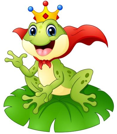 sapo principe: Príncipe de la rana de dibujos animados sobre hoja de nenúfar