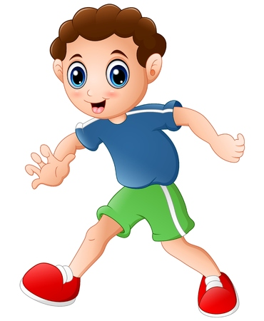 Cartoon curly young boy posing on a white background Illustration