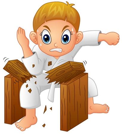 Cartoon Young boy breaking board