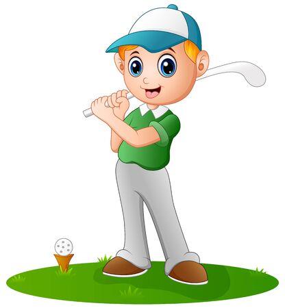 teen golf: Campo de juego de dibujos animados niño Vectores