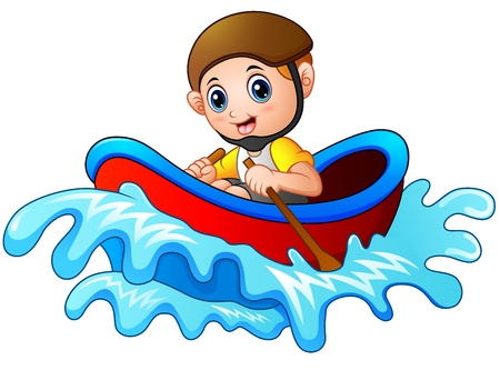 Cartoon little boy rowing a boat on a white background