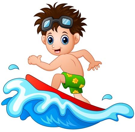 enfant maillot de bain: Petit garçon de surf sur une grosse vague Illustration