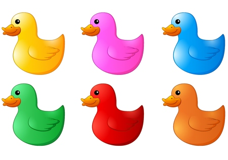 rubber ducks: Several colors rubber ducks on white background