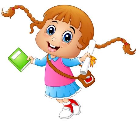 かわいい女の子は、白い背景の本や論文を保持と一緒に学校へ行く