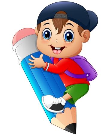 niño parado: Niño pequeño que sostiene el lápiz grande