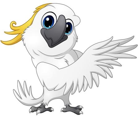 Schattige papegaai kaketoe cartoon poseren