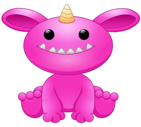 Cute pink monster cartoon
