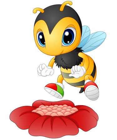 Cartoon bee happy to see the flower Illustration