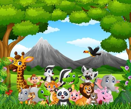 漫画、ジャングルの中で野生動物