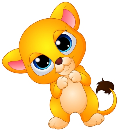 lioness: Cute baby lion cartoon