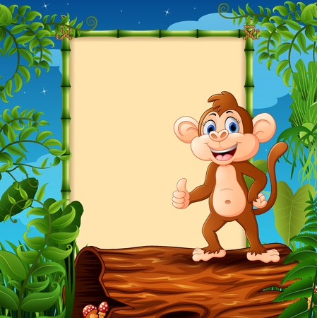 Cartoon monkey standing on hollow log near the empty framed signboard