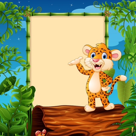 Cartoon leopard presenting on hollow log near the empty framed signboard