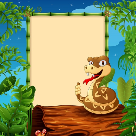 hollow: Cartoon rattlesnake on hollow log near the empty framed signboard
