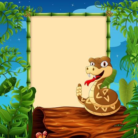 serpiente de cascabel: serpiente de cascabel de la historieta en el tronco hueco cerca del letrero enmarcado vacía