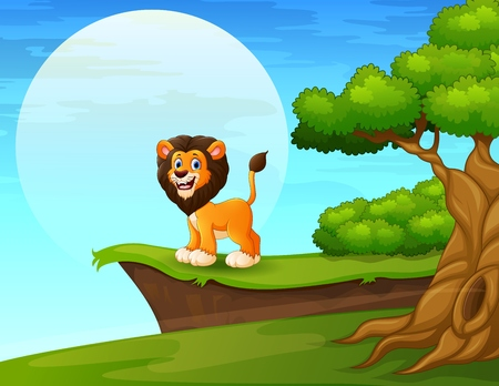 Cartoon lion near the cliff