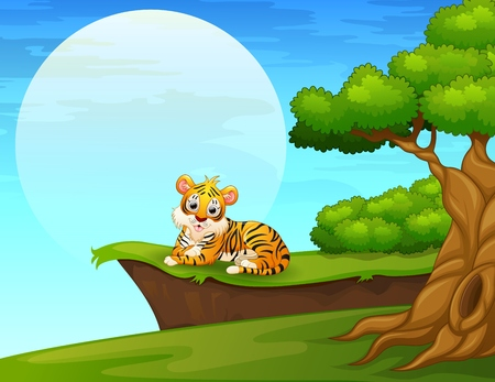 lay down: Cartoon tiger lay down near the cliff