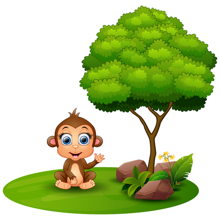 Cartoon monkey sitting under a tree on a white background