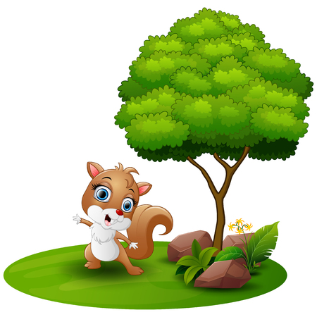 Cartoon squirrel dancing under a tree on a white background