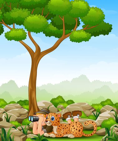 Cartoon boy lay down using binoculars with a leopard in the jungle
