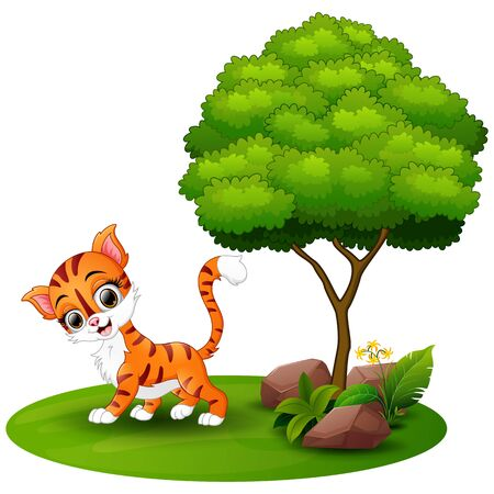 Cartoon cat under a tree on a white background Stock Photo