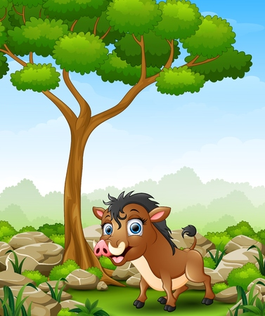 Cartoon warthog in the jungle